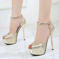 Women Sandals Shoes Buckle Strap Shallow 14. 5cm Thin High He...