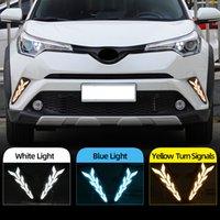 2PCS Para Toyota CHR CHR 2016 2017 2018 2019 Voltando Estilo sinal amarelo Relé impermeável ABS Car DRL LED Daytime Running luz Daylight
