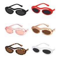 Moda Mujeres Hombres Personalidad Gafas de sol de una sola haz Oval Gafas de sol Anti-UV Espectáculos Hip Hop Gafas Adumbral A ++