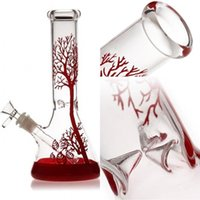 Red Tree Glass Bong Hookah Glass Water Pipes Beaker Recycler...