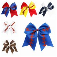 Titulares Softball equipa de beisebol do elogio Arcos Meninas Moda Rugby Swallowtail rabo de cavalo cabelo arco meninas Faixa de Cabelo Acessórios 8 polegadas D6299