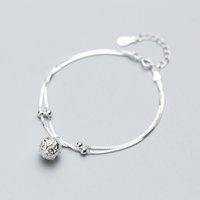 MloveAcc Véritable 100% 925 Argent Double Sterling couche boîte gourmettes pour femmes Mode motif fleur boule Bracelet à breloques