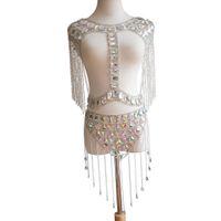 Alta calidad brillante muy hermoso colorido acrílico cristal borla moda sexy sujetador falda conjunto cintura vientre cuerpo cadena joyería oro plata