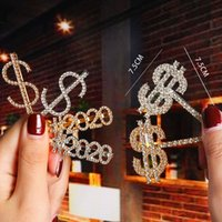 Signe de dollar scintillant Bobby Pin Crystal Crystal Shine Clip Clampes Cheveux Barrettes Clips pour filles / Mesdames