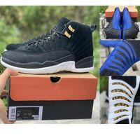 2019 12 Reverse Taxi 12 Game Royal 12s Venta al por mayor FIBA fibra de carbono real con caja Negro Azul Blanco Zapatos de baloncesto Hombres envío gratis