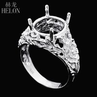 HELON Sterling Silver 925 Oval Cut 10x11mm Engraved Flower E...
