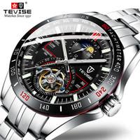 aço TEVISE Mens Fashion Skeleton Tourbillon Negócios inoxidável Relógios Men Automatic relógio mecânico Relógio Masculino