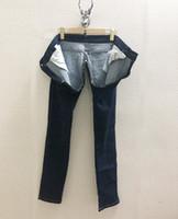 2020 yeni kadın moda pamuk fermuar crotchless denim jeans