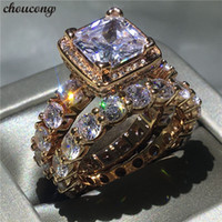 choucong 2018 Vintage ring Diamond Rose Gold Filled 925 silv...