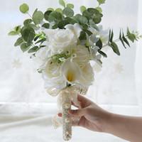 Calla Gül Simülatörü Ipek Çiçekler Gelin Düğünler Için Buketler Nedime Tuhafiye Ev Dekorasyon Üst Satış El Ucuz Tutar