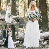 Ocidental do casamento do país Vestidos Lace Chiffon V Modest Neck mangas meia longo Bohemian vestidos de noiva Plus Size Robe de mariée en dentelle