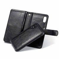 2 in 1 PU 가죽 지갑 전화 케이스 iPhone XR 패널 흡착 스트랩 사진 프레임 슬롯 플립 핸드폰 커버 Foribone XS 최대 x 6s 7 8