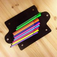 Оптовая продажа многофункциональный мешок ручки прямоугольник искусственная кожа карандаш сумки складной двойной пряжки карандаши чехол высокое качество