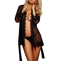Frauen Herbst Perspektive Robe-Sätze reizvolle Spitze Bademantel Durchlässiger Lingerie Lace-up Plus Size Nachtwäsche Startseite Kleidung