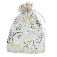 100pcs 4x6 pouces cadeau en organza bonbons Cordons Sacs de mariage Sacs Favors (blanc avec de l'or)