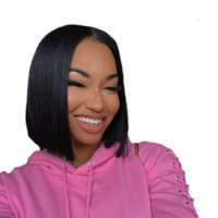 Malaysian 4X4 Straight Lace Frontal wigs Nature color Short ...