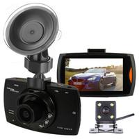 """dashcam coche de 2 canales grabador de vídeo digital DVR coche 2.7"""" pantalla frontal trasera 140 ° 100 ° ángulo de visión amplio FHD 1080P visión nocturna"""