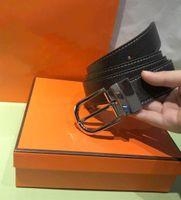 Ceinture de la ceinture de qualité supérieure de la courroie de femmes et de femmes avec la mode grosse boucle cuir véritable cuir de strap pour hommes avec boîte