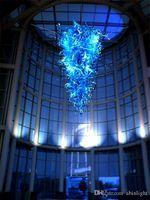 Большие люстры синего стекла Подвеска Лампы Чихули Стиль Модерн Арт Декор муранского стекла Люстра для отеля Decor