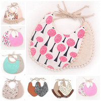 Tassel Baby Bibs Infant Cotton Linen Burp Cloths Double Laye...