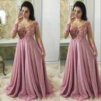 Cheap Dusty Pink Maniche lunghe Madre della sposa Abiti gioiello collo pizzo Appliques Chiffon fiori in rilievo party sera abiti da sposa abiti da sposa