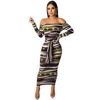Outono das mulheres designer listrado dress mulheres sexy slash neck vestidos casual ladies bodycon dress