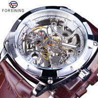 Forsining 2018 Prata esqueleto Relógio Brown couro genuíno Resistente à água relógios automático automático para homens relógios desportivos