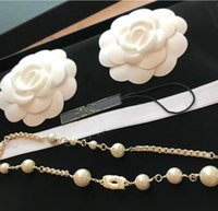 Luxury Brand Pearl Sweater Necklaces With logo Jewelry Class...