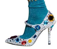Kobiety Moda Kolorowe Rhinestone Bling-Bling Srebrne Cekinowe Bridal Szpilki Perły Glittery Buty Ślubne Mary Janes