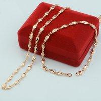 1 Satz 4 mm Rose Pflanze Frau Mädchen-Geschenk 585 Rose Gold Color Set Schmuck Armband Halskette (NO roter Kasten)
