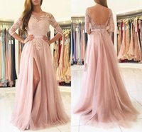 Blush Pink Split Long Bridesmaids Dresses 2018 Sheer Neck 3 4 Long Sleeves Appliques Lace Maid of Honor Country Wedding Guest Gowns Cheap