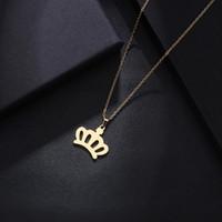 Collar de acero inoxidable para mujer hombre amante de la corona de oro y plata color colgante collar de joyería de compromiso
