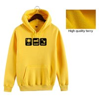 Casual Terry Hoodie Uomini manica completa Eat Sleep Play stampato Felpe Felpa Plus Size