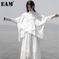 [EAM] 2019 Yeni Sonbahar Kış Yaka Uzun Kollu Beyaz Gevşek Oversize Düzensiz Gevşek Gömlek Kadınlar Bluz Moda Tide JS921