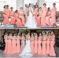 Élégante demoiselles de demoiselles d'honneur de corail de corail de corail élégantes à manches avantagées de la dentelle de lacet sirène robe de soirée africaine Robes de mariée africaine