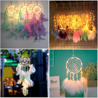 Dream Catcher Plume À La Main Dreamcatcher LED String Light Vent Carillon Maison Chevet Tenture Décoration Nouveauté Articles 16 couleurs