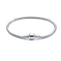 1 stücke Drop Shipping Silber Überzogene Armbänder Frauen Schlangenkette Charme Perlen für Pandora Armreif-Armband Kinder Geschenk