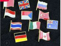 Cartoon spilla bandiera distintivo personalizzati Cina Canada USA Germania Corea Turchia olio goccia a goccia regali distintivo 763
