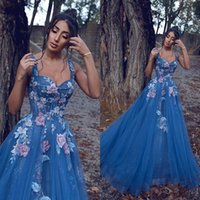 2020 A Line Prom Dresses Plunging Neck Bling Sequined Lace A...