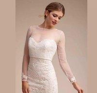 Einfache Langarmhochzeit Hochzeit Brautjacke Spitze Braut Wraps bescheidene Alencon Juwel Halsmantel Custom Made plus Größe