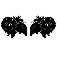 16 * 6.7 سنتيمتر كلب صغير طويل الشعر كلب جميل الفينيل صائق ملصقا سيارة أسود / فضي CA-1090