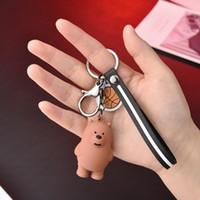 Mignon trois animaux d'animaux poupées porte-clés dessin animé anime we femmes nues sac de voiture pendentif ceinture de pendentif clef chaînes portes clef