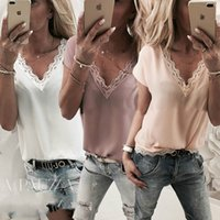 Verão Moda Casual Mulheres T-shirt Tops 3 Estilo Floral manga curta V-Neck Lace Tops sólida Tamanho S / M / L / XL