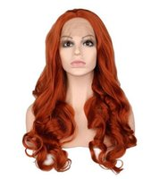 Парик фронта шнурка ручной работы Glueless для женщин оранжевый натуральный длинная объемная волна термостойкие синтетические парики