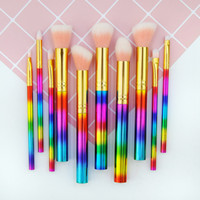 Pudra Fondöten Için Glitter Makyaj Fırçalar Göz Farı Eyeliner Dudak Fosforlu Kozmetik Fırça Araçları 10 adet Makyaj Fırça Seti RRA1967
