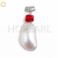 Large White Iridescent Oval Shell Red Coral Inlay Pendant Sh...