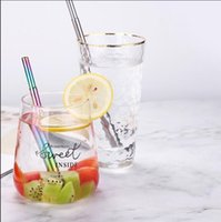 Durable Stainless Steel Straight Bent Drinking Straw Curve M...