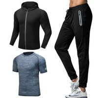 Sports Suit Men's Three-piece Casual Men's Fitness Tracksuit Quick-drying Running Training Tight Round Neck Thin Section Sports Trousers