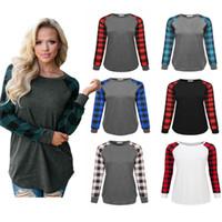 풀오버 S-5XL 격자 무늬 패널 라글란 T 셔츠 여성 스웨터 긴 소매면 블라우스 봄 가을 셔츠 캐주얼 스포츠 C72306 탑