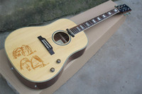 Gluhplatte 41 Zoll John Lennon 70th Anniversary Akustikgitarre mit Gesichts-Muster, Knochen Mutter / Sattel, Palisander Griffbrett, kann besonders angefertigt werden